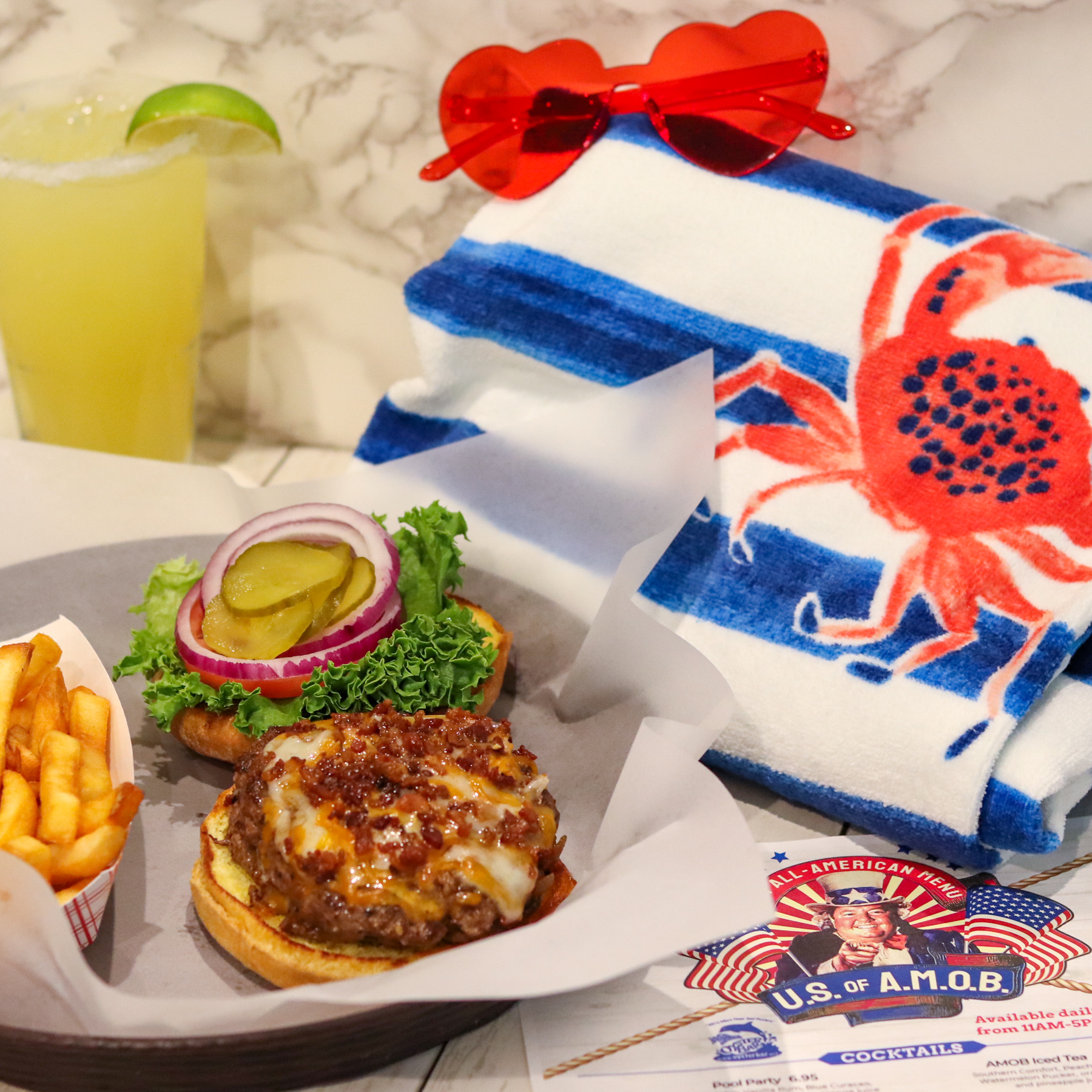 US of AMOB Seasonal menu All American Burger