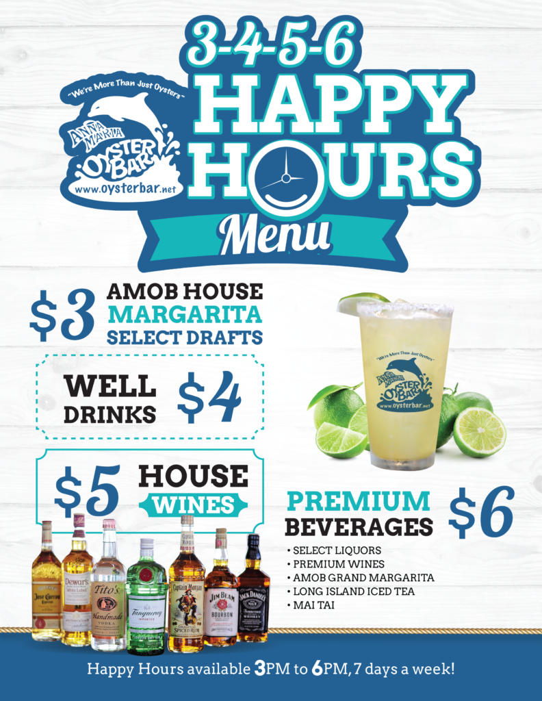 Anna Maria Oyster Bar Happy Hour Menu Daily Specials
